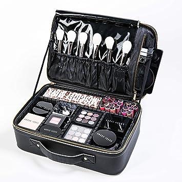 Bolsa de maquillaje GLAMFORT para maquillaje, viaje, con compartimentos ajustables, kit de viaje, estuche para niñas (negro mediano): Amazon.es: Equipaje