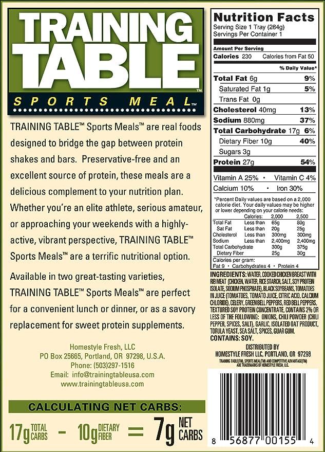 TRAINING TABLE SPORTSMEAL - Alta proteína de pollo chile - 6 ...