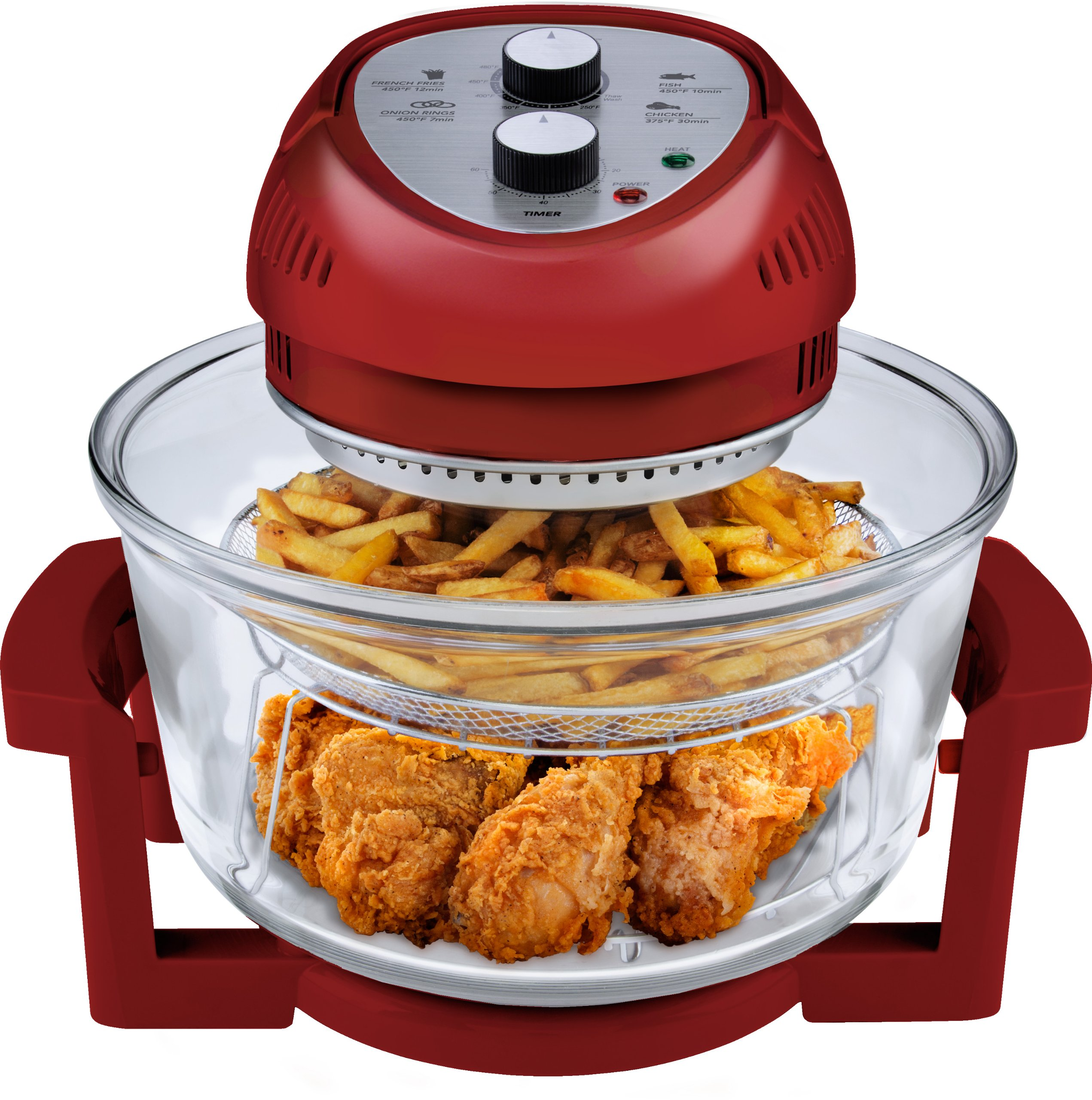 Big Boss Oil-less Air Fryer, 16 Quart, 1300 watt, Red