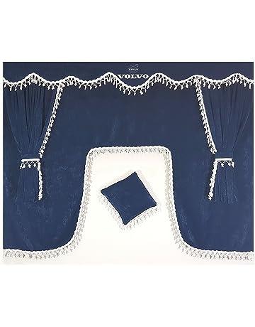 Other Set de 5 piezas azul cortinas con borlas de color blanco Universal tamaño todos los