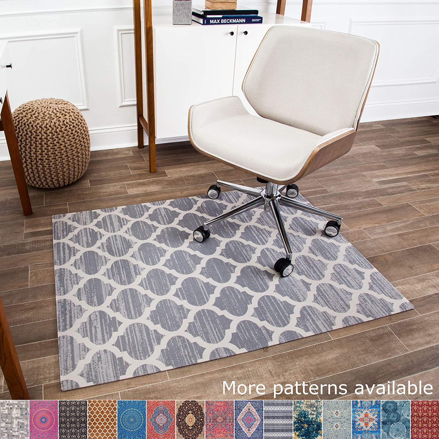 """Anji Mountain Chair Mat Rug'd Collection, 1/4"""" Thick - For Low Pile Carpets & Hard Surfaces, Mitte AMB9011, Gray and Ivory Trellis"""