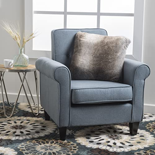 Christopher Knight Home Mills Tufted Blue Grey Fabric Club Chair