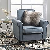 Mills Tufted Blue Grey Fabric Club Chair