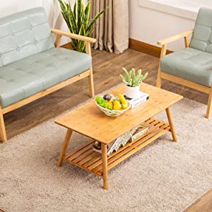 Coffee Table, NNEWVANTE Cocktail Table Bamboo End Table Foldable TV Table/Sofa Desk/Center Table Side Table with Removal Storage Shelf for Living Room Furniture No Assembly Large Size 38.6'' x 19.7''