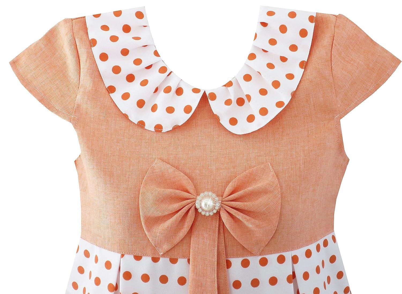 Sunny Fashion Girls Dress Polka Dot School Bow Tie Pearl Cap Sleeve Size 4-14