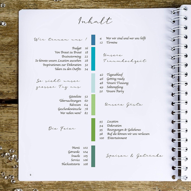 WeddingTree Hochzeitsplaner Deutsch Organizer Wedding Planner Buch Hochzeitsplaner Buch Elegantes Must Have f/ür den perfekten sch/önsten Tag Hochzeit Planung