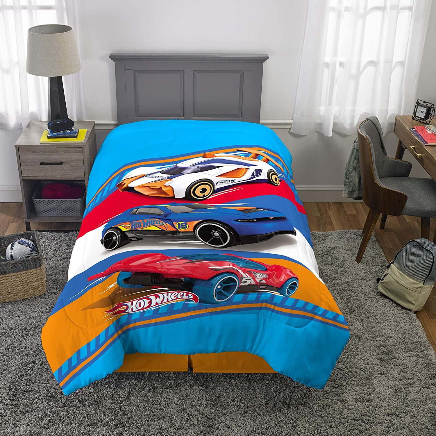"Franco Kids Bedding Super Soft Microfiber Reversible Comforter, Twin/Full Size 72"" x 86"", Hot Wheels"