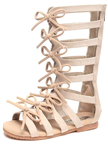 9bbdbea54c22 UBELLA Girls Zipper Bowknot Strappy Knee-High Gladiator Sandals Comfort  Flat Zip Up Boots Shoes