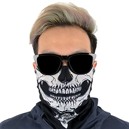 Outdoor Face Mask   Perfect For Motorcycle Riding, Skiing, Snowboarding, Fishing   Work As Sun Shield, Dust Mask, Neck Gaiter, Balaclava, Bandana   Breathable Seamless Microfiber (Skull) by Got Headband