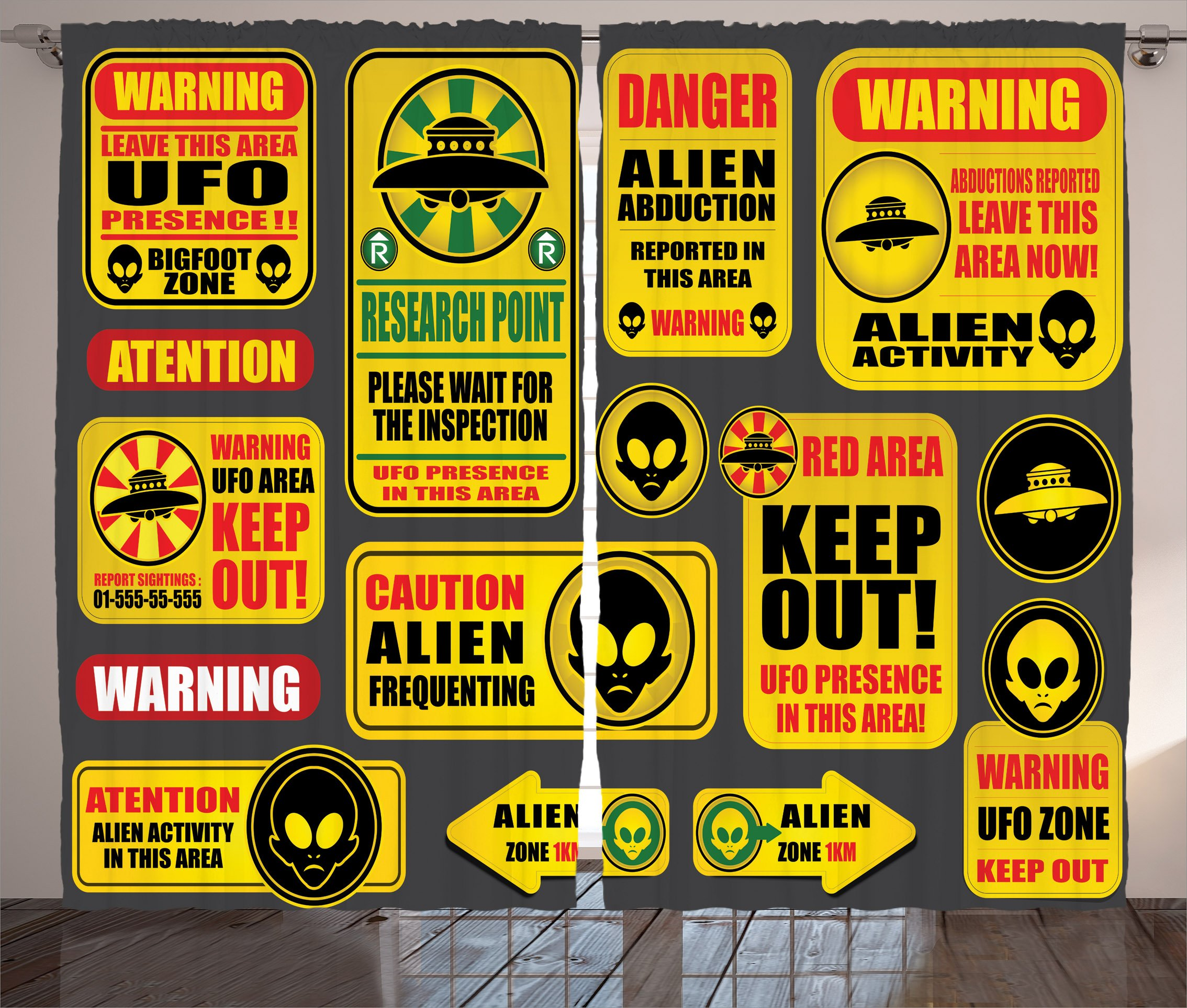 Ambesonne Outer Space Decor Curtains, Warning Ufo Signs with Alien Faces Heads Galactic Paranormal Activity Design, Living Room Bedroom Window Drapes 2 Panel Set, 108W X 63L Inches, Yellow