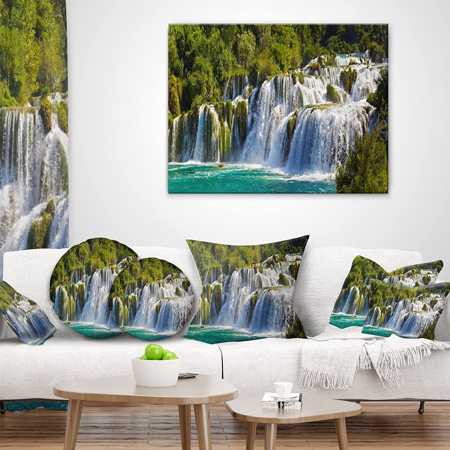 Waterfall Krka Panorama Landscape Photography Throw Pillow /& Cushion Pillow Cover for Living Room Sofa