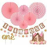 """FIRST BIRTHDAY DECORATION SET FOR GIRL - 1st Baby Girl Birthday Party Hat Gold Crown, Circle Dots Paper Garland, Cake Topper -""""One"""", """"I Am One Banner, Fiesta Pink Hanging Paper Fan Flower"""