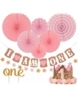 "FIRST BIRTHDAY DECORATION SET FOR GIRL - 1st Baby Girl Birthday Party Hat Gold Crown, Circle Dots Paper Garland, Cake Topper -""One"", ""I Am One Banner, Fiesta Pink Hanging Paper Fan Flower"