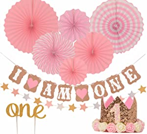 """FIRST BIRTHDAY DECORATION SET FOR GIRL- 1st Baby GIRL Birthday Party, Stars Paper Garland, Gold Cake Topper""""One"""", Pink Banner, Pink Fiesta Hanging Paper Fan Flower, Pink Baby Hat (Pink)"""