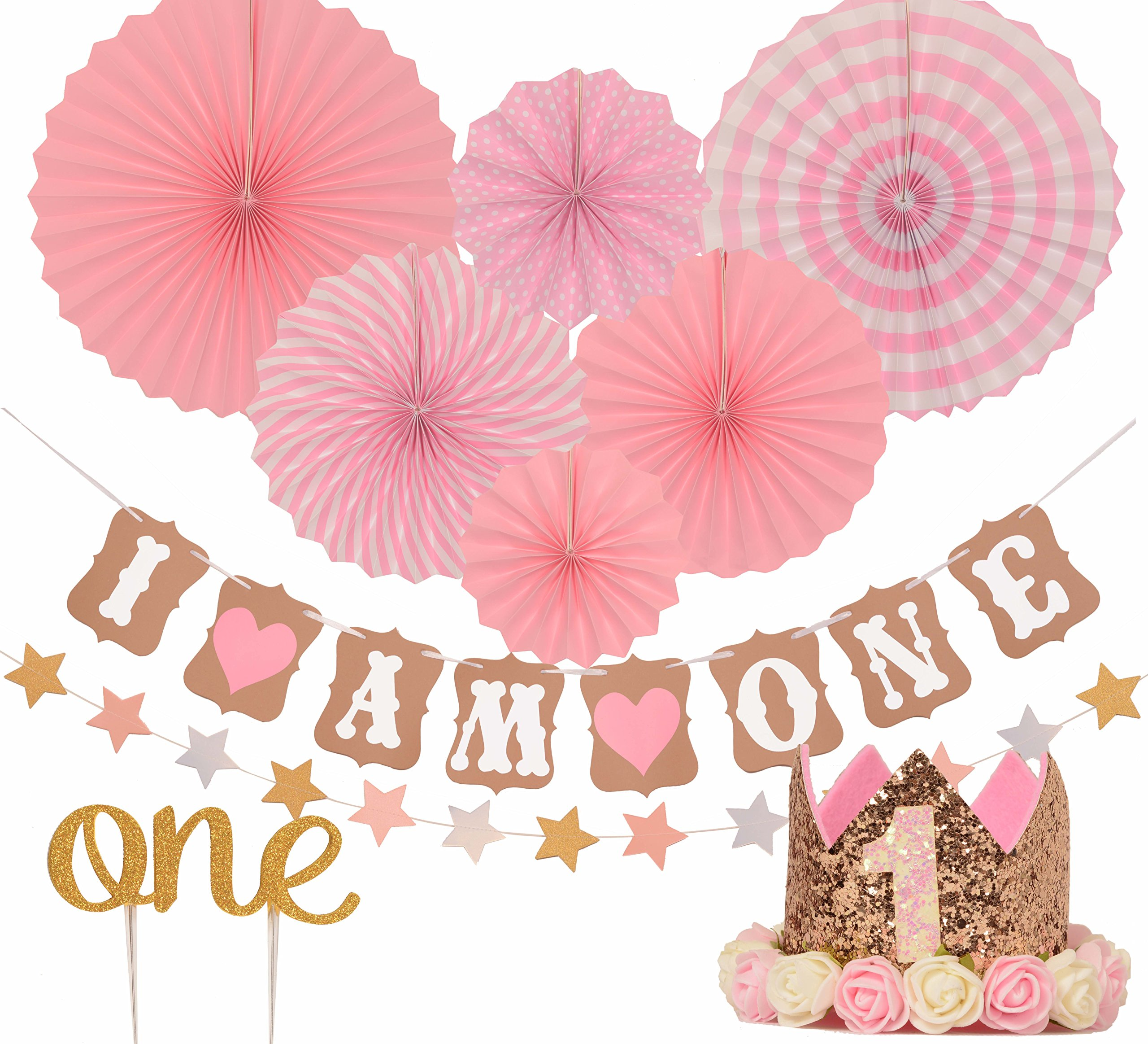 I Am One Pink And Gold Birthday Party Decorations One High: Amazon.com: 1st Birthday Girl