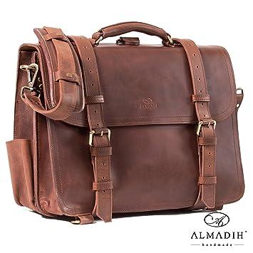 53fe46a366 ALMADIH sac en cuir WALKER Cartable + sac a dos bandoulière Marron Vintage  serviette sac porté