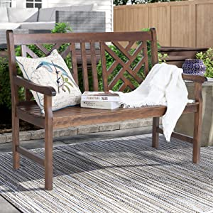 Sophia & William Outdoor Patio Poplar Wood Bench Walnut, PU Painting Wooden Bench with Backrest and Armrests for Porch, Pool, Garden, Lawn, Balcony, Backyard and Indoor, Load Capacity: 500 lbs, 1 Pack