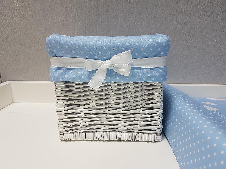 Babymajawelt/® Aufbewahrung Korb wei/ßSTARS Utensilio blau handgeflochten
