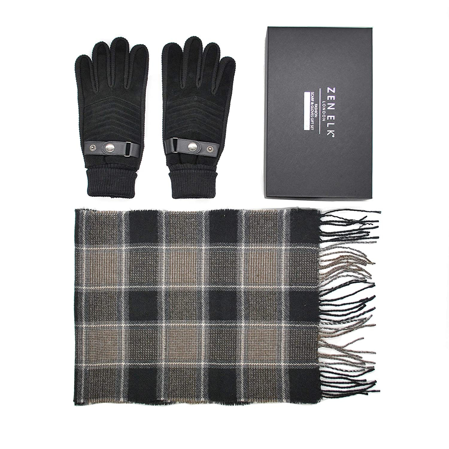 Men's Suede Grip Gloves and Check Scarf Gift Set #72 (M/L)