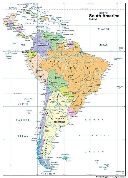 Cartina Geografica Centro America.Sud America Mappa Politica Carta Plastificata A1 Misura