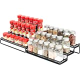 "3 Tier Expandable Cabinet Spice Rack Organizer - Step Shelf with Protection Railing (12.5 to 25""W), Black"