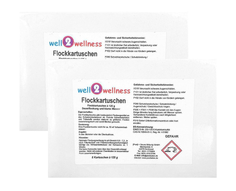 well2wellness Flockkartuschen/Flockungsmittel Kartuschen 2, 0 kg (16 x 125 g) [Pool] + Sauna Bräunig GmbH