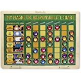 Melissa & Doug Personalized Deluxe Wooden Magnetic Responsibility Chart with 90 Toy