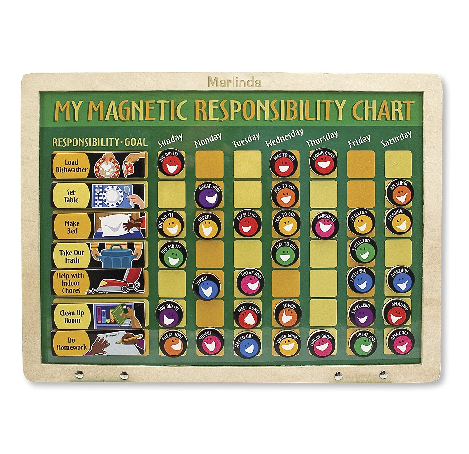 Melissa & Doug Deluxe Wooden Magnetic Responsibility Chart With 90 Magnets 3789