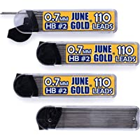 June Gold 440 Pieces, 0.7 mm HB #2 Lead Refills, 110 Pieces Per Tube, Medium Thickness, Break Resistant Lead/Graphite (Pack of 4 Dispensers)