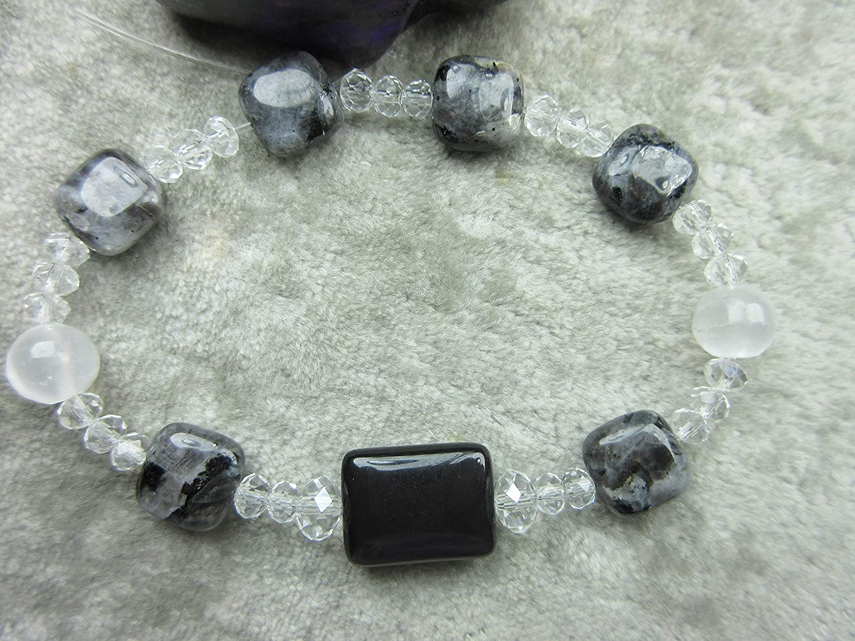 Selenite and Shungite Healing Bracelet EMF Protection Lucid Dreaming Genuine Larvikite