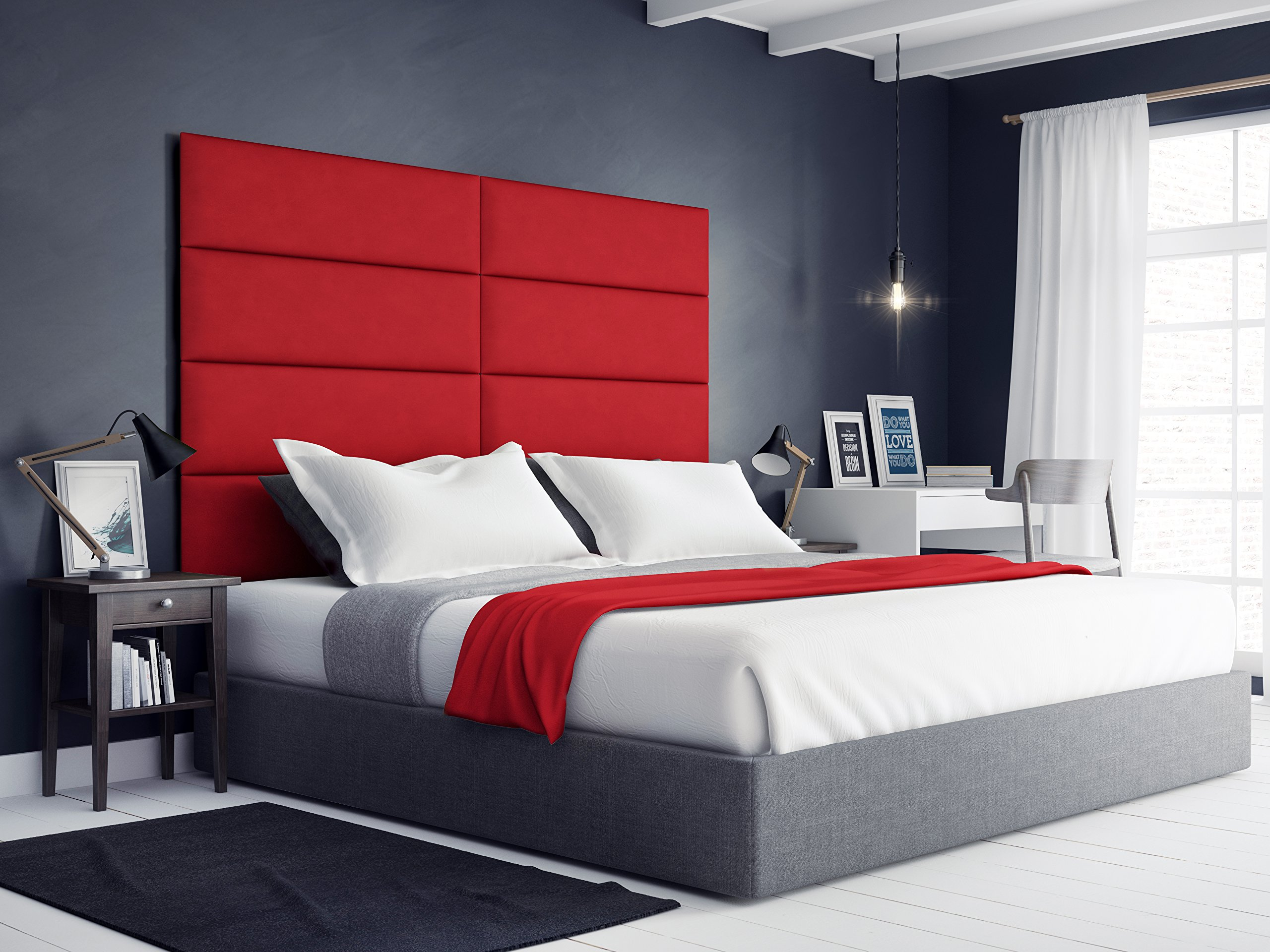 VANT Upholstered Headboards - Wall Panels - Packs Of 4 - Suede Red Melon - 39'' Wide x 11.5'' Height - Easy To Install - Twin - King Size Headboard