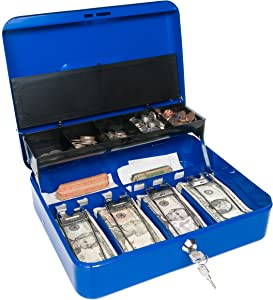 Certus Global Large Blue Cash Box with Money Tray, Secure Lock, Cantilever Coin Tray 4 Bills/ 5 Coins (Admiral Blue)