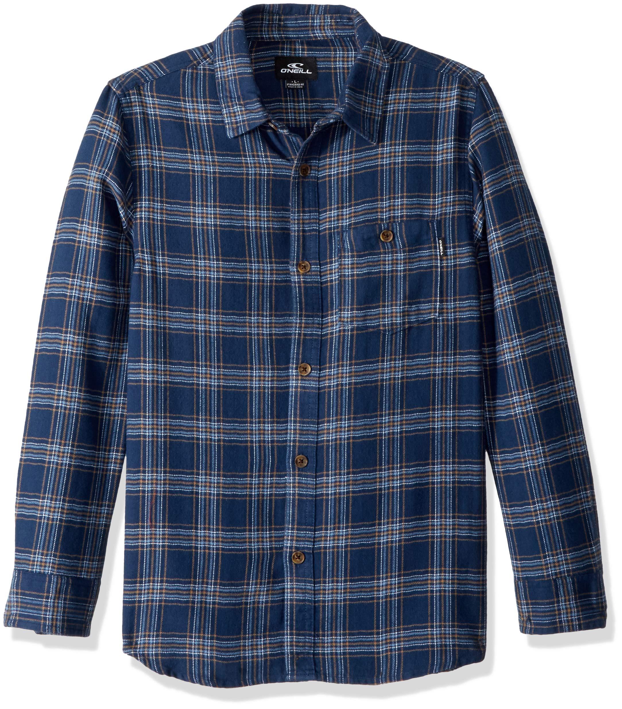 O'Neill Boys' Big Redmond Flannel, Navy, L
