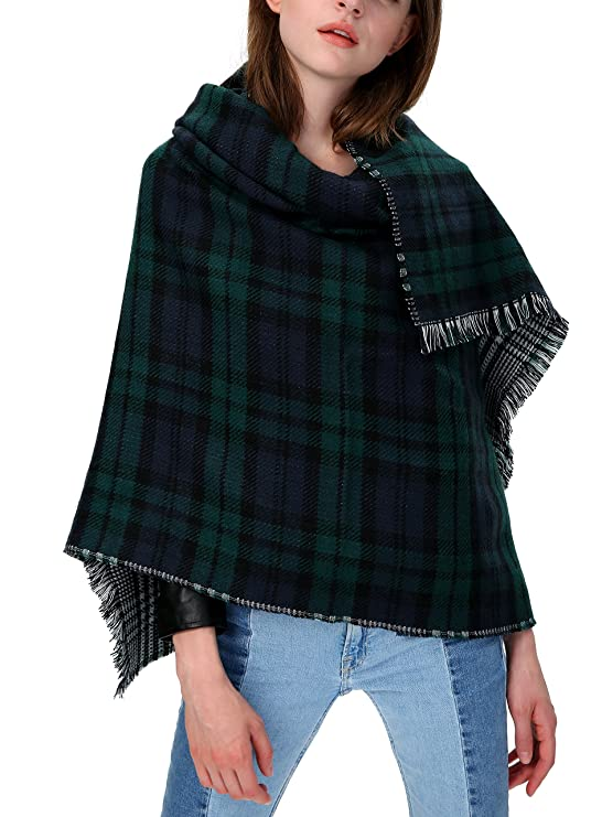 loose-fitting poncho green checkered black and white 5DIuLV