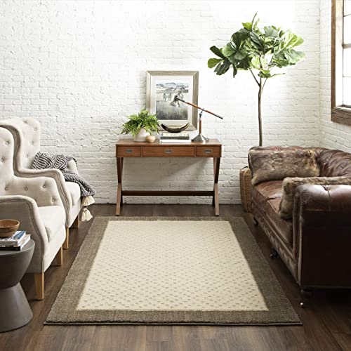 Mohawk Home Loft Christiana Cream Diamond Pattern Woven Soft Shag Area Rug