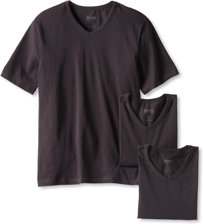 New Fashion Hugo Boss Men/'s 3 Pack Regular Fit V-Neck Pure Cotton T-Shirt