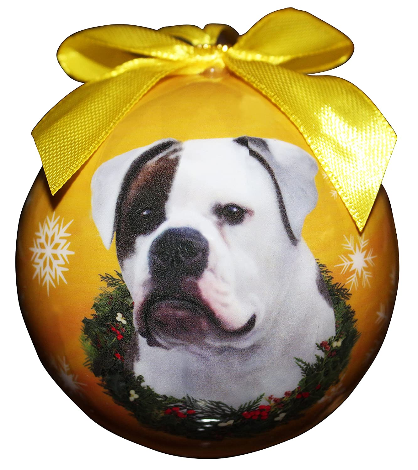 """American Bulldog Christmas Ornament"" Shatter Proof Ball Easy To Personalize A Perfect Gift For American Bulldog Lovers"