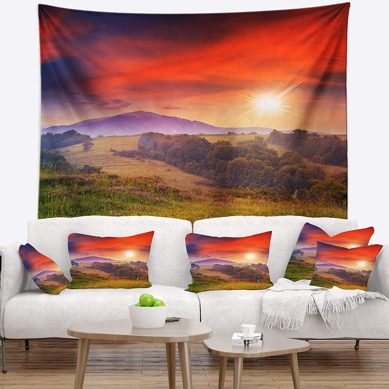 Designart Tap9635 80 68 Cold Morning Fog With Red Hot Sun Landscape Photography Blanket Décor Art For Home And Office Wall Tapestry X Large 80 X 68 Created On Lightweight Polyester Fabric