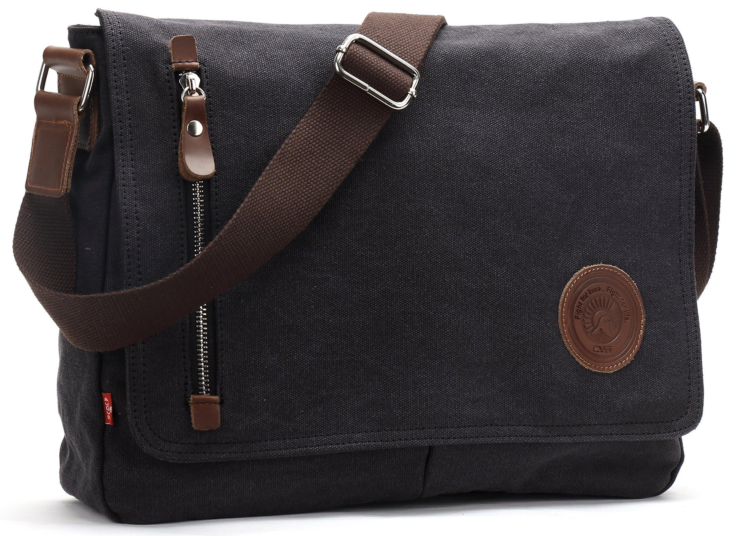 Magictodoor 13.5'' Vintage Canvas Messenger Bag Black