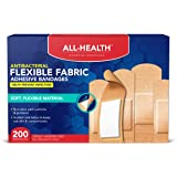 All Health Antibacterial Fabric Adhesive Bandages, Assorted Sizes Variety, 200 ct | Helps Prevent Infection, Flexible…