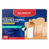 All-Health Antibacterial Flexible Fabric Adhesive Bandages, Assorted Sizes, 200 Count