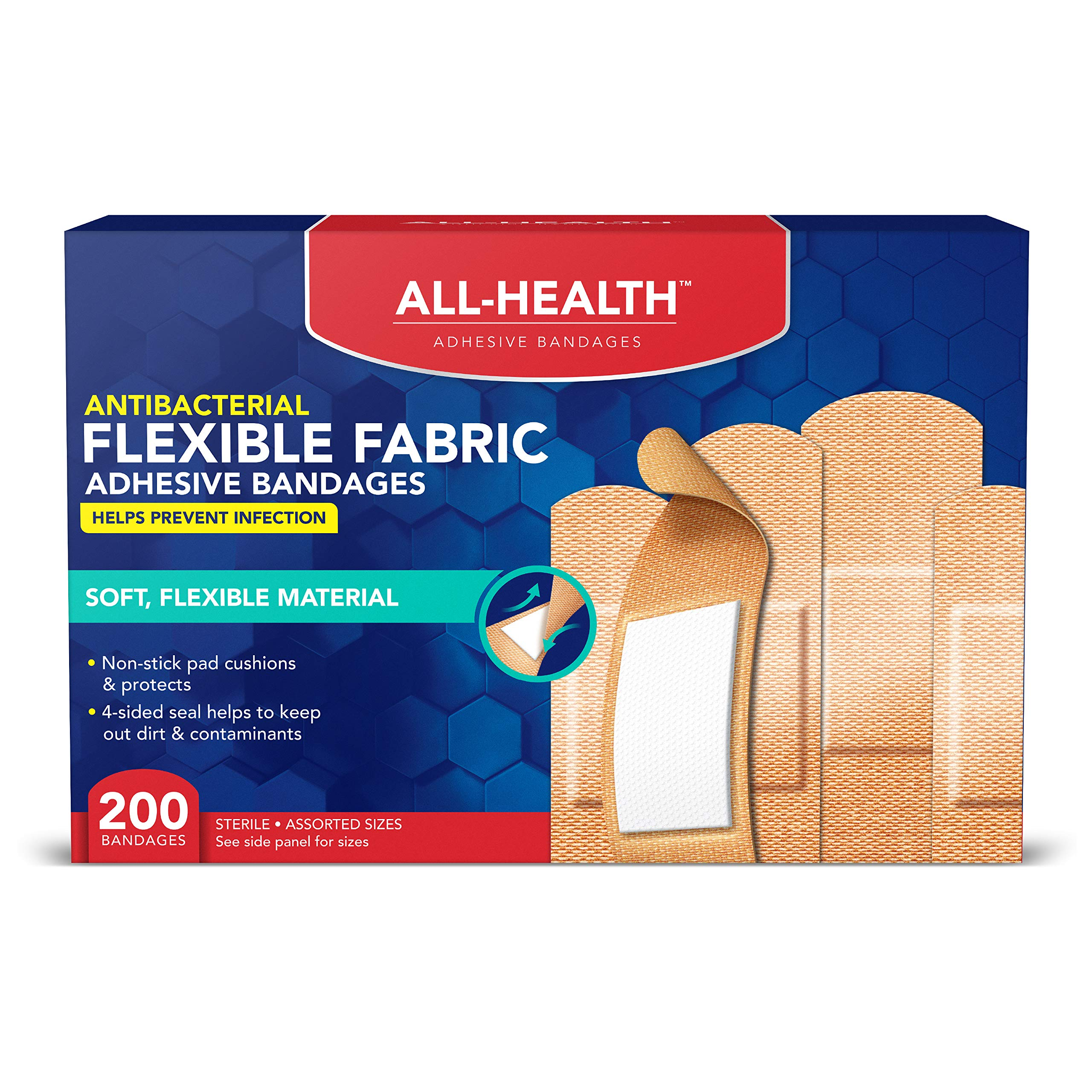 All Health Fabric Adhesive Bandages, Assorted Sizes Variety, 200 Count