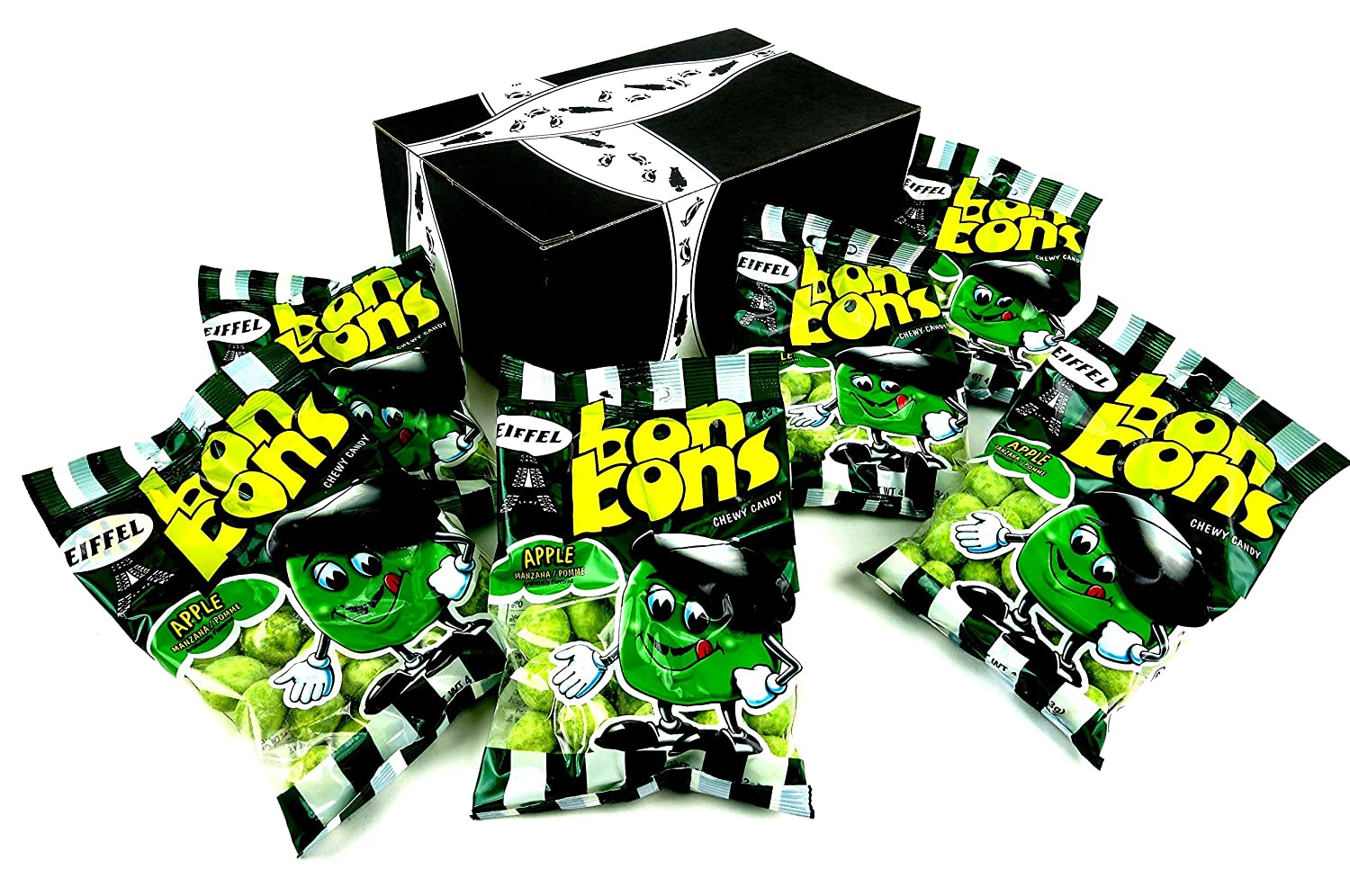 Eiffel Apple Bon Bons Chewy Candy, 4 oz Bags in a BlackTie Box (Pack of 6)
