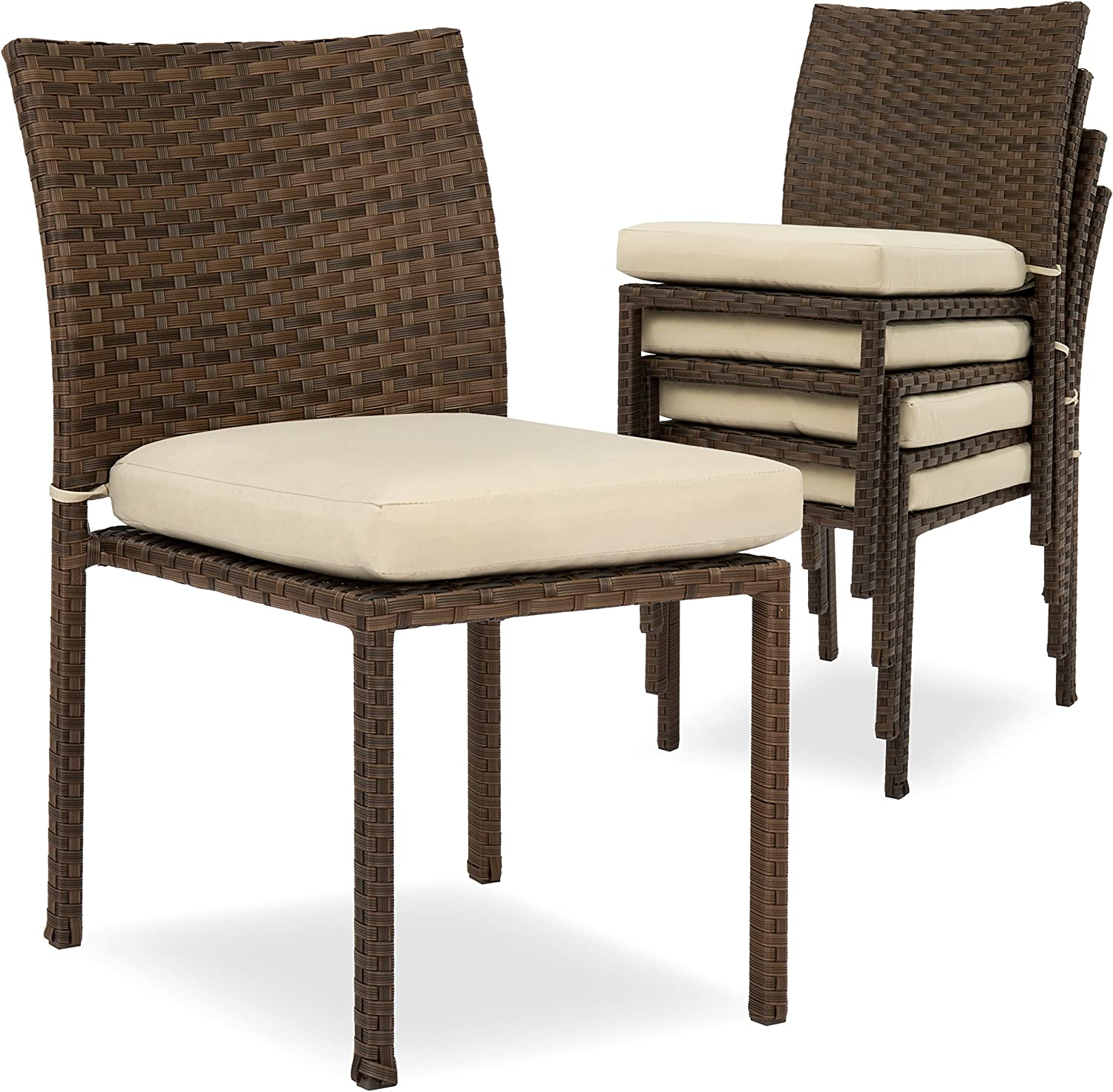 Best Choice Products Set of 4 Stackable Outdoor Patio Wicker Chairs w/Cushions, UV-Resistant Finish, and Steel Frame, Brown