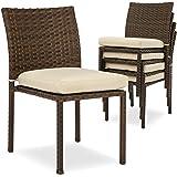 Amazon Com Flash Furniture 4 Pk Dark Brown Rattan Indoor