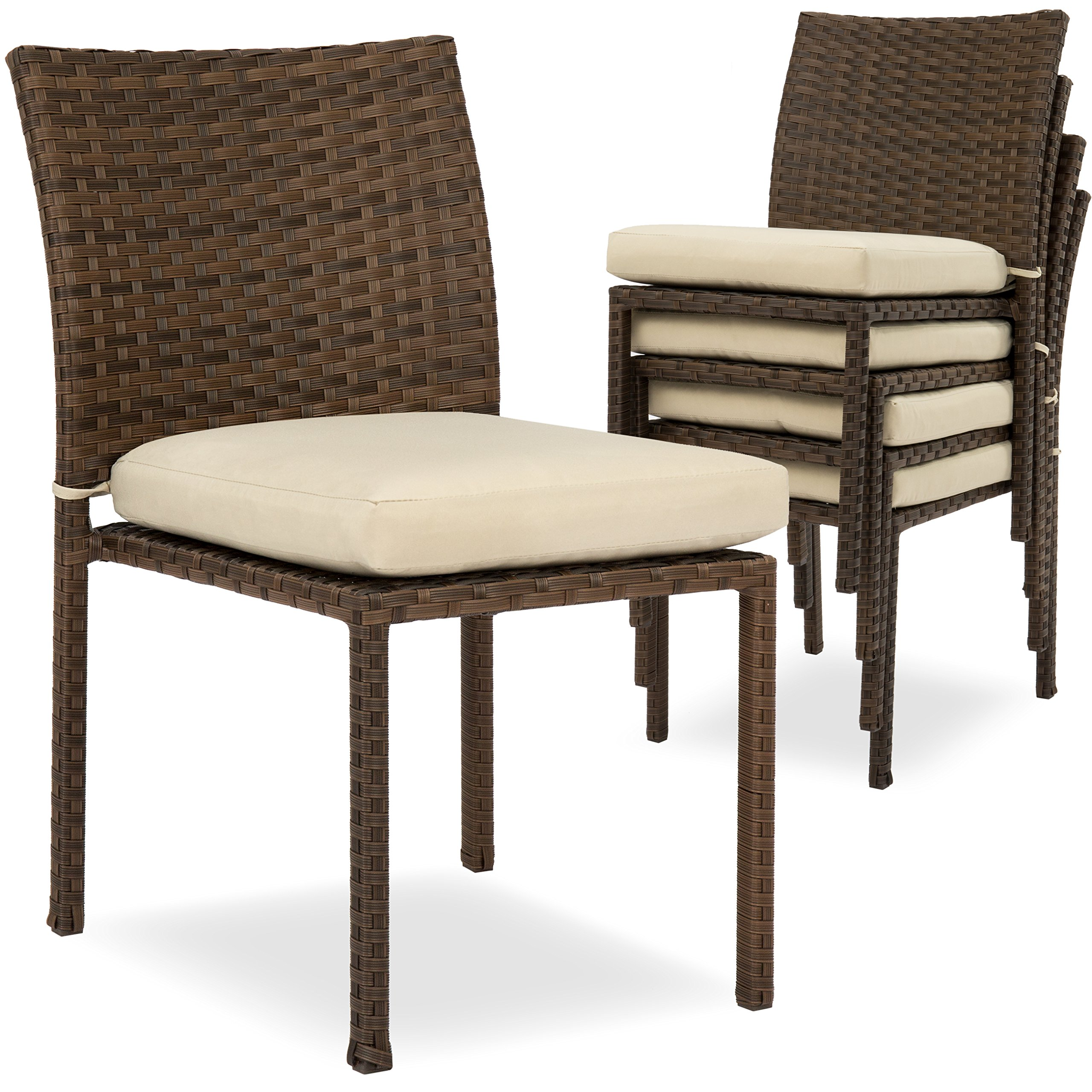 Best Choice Products Set of 4 Stackable Outdoor Patio Wicker Chairs w/Cushions, UV-Resistant Finish - Brown