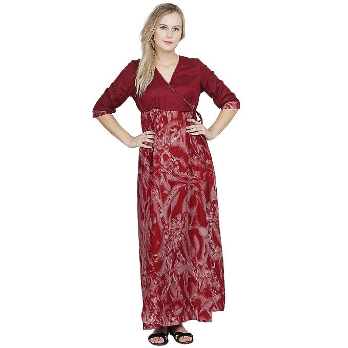 0e684ffb22 Patrorna Women s Wrap Bodycon Nighty Night Dress Gown in Maroon(Size S