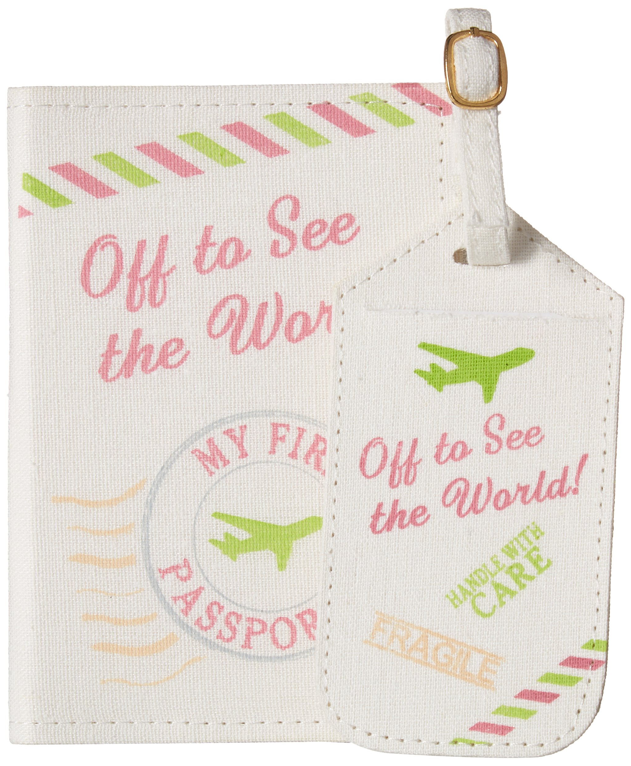 Lillian Rose Luggage Tag and Passport, Pink/World, 6.75'' x 5.75''