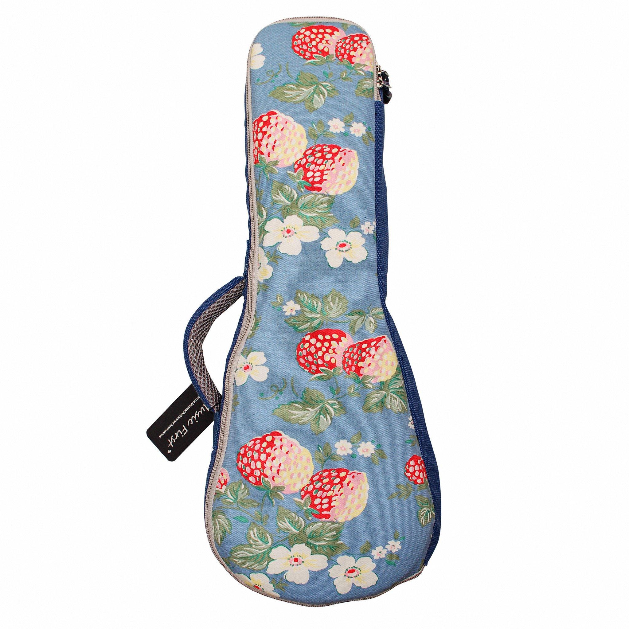 "MUSIC FIRST Cotton 23''/24'' Concert Vintage style ""Strawberry Flowers"", Ukulele Bag Ukulele Case Ukulele Cover, New Arrial, Original Design (23/24 inch Concert, Strawberry Flowers)"