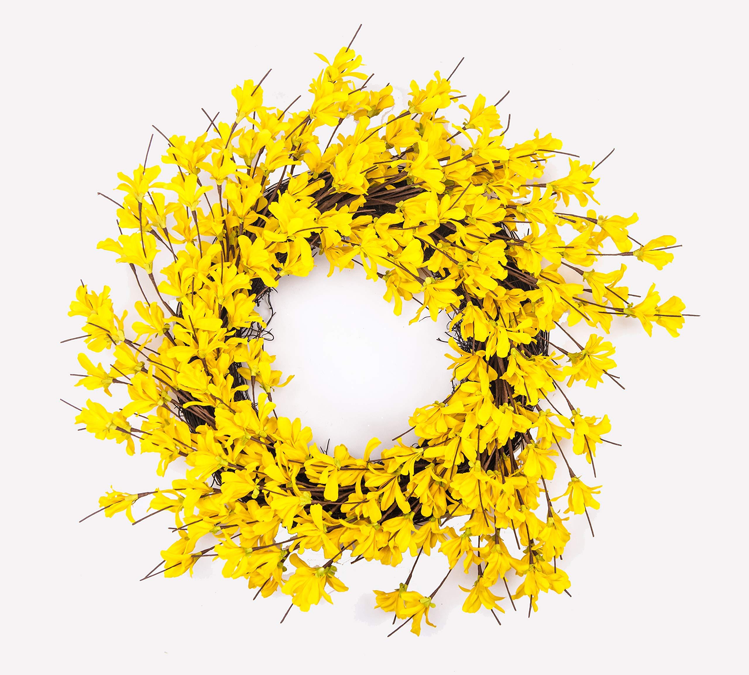 Huashen 24 Inch Yellow Forsythia Door Wreath For Rustic Summer Farmhouse Front Door Decor Spring Summer Wreath Silk Flower Arrangements